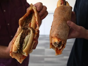 Two ways to roll up a Philly Taco. (Stephanie Aaronson/Philly.com)